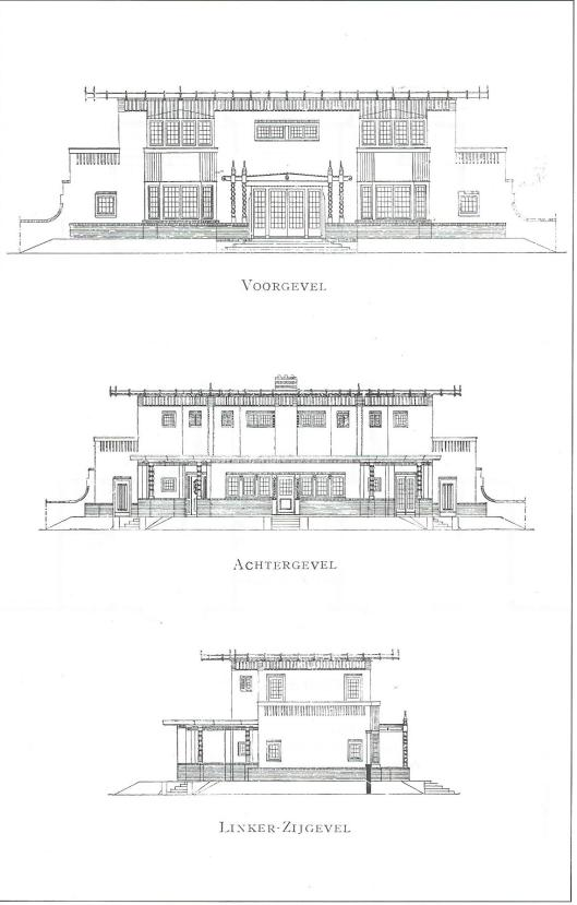 Rijksstraatweg 71, Huize Eikenhorst, opstand-tekeningen, uit: H.van der Kloot Meijburg, Landhuisbouw in Nederland. Amsterdam, 1921, afbeelding 106