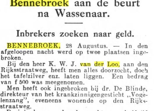 Bericht inbraak de Eikenhorst, uit Het Volk van 29 augustus 1928