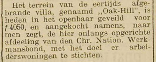 Bericht over verkoop terrein Oak's Hill uit Haarlem's Dagblad van 24 december 1904