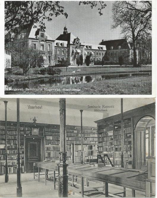 Boven: in de rechter uitbouw was de seminariebibliotheek van Hageveld gehuisvest; onder: interieurfoto van de 'Bibliotheca Hageveldensis' die voor 1923 in Voorbout was gevestigd