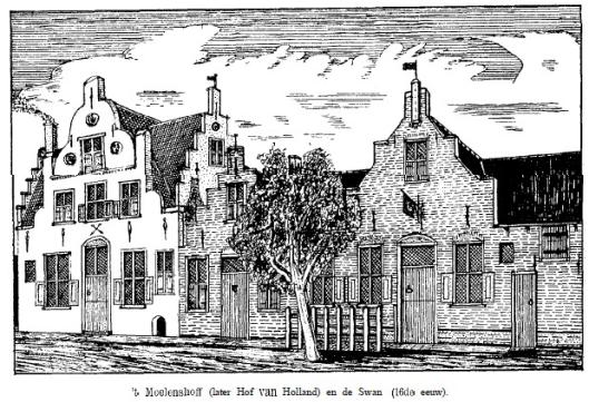 Herberg de Hof van Holland voorheen het Moelenshoff in de 16e eeuw
