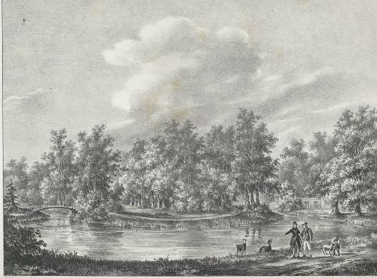 Huis te Vogelenzang op een litho van P.J.Lutgers, circa 1842