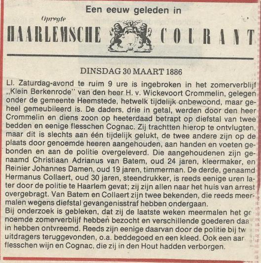 Bericht uit de Opregte Haerlemsche Courant over de inbraak op Klein Berkenrode