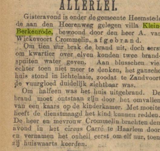 Bericht over de brand uit Opregte Haerlemsche Courant, 1889