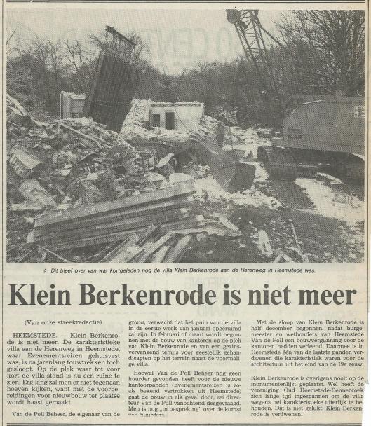 Klein Berkenrode is niet meer. Uit: Haarlems Dagblad 24-121982