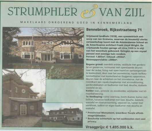 Advertentie pand Rijksstraatweg 71 Bennebroek van makelaars Strumphler & Van Zijl, 2016
