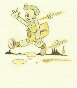 Cartoon van het vertrek van de commando's vanuit Wildhoef nar Roosendaal op een illustratie van 'Fritz'