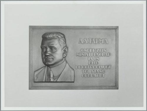 Plaquette ter ere van Talma aangebracht bij de Octrooiraad (foto Wiel van der Randen)