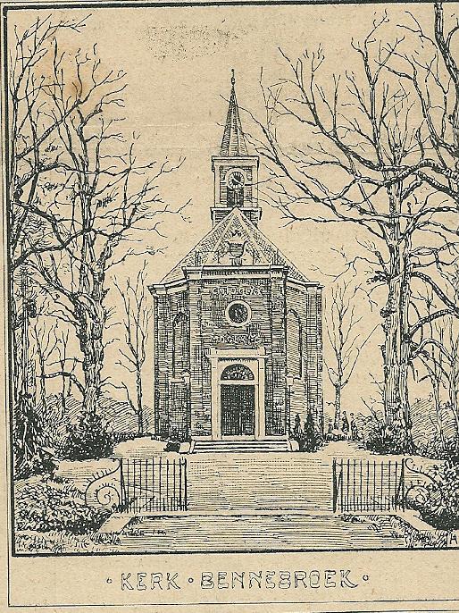 Houtgravure van de Hervormde Kerk te Bennebroek, gedrukt bij de firma Joh. Enschede en Zn.