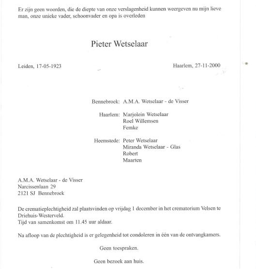 Overlijdensbericht Pieter Wetselaar