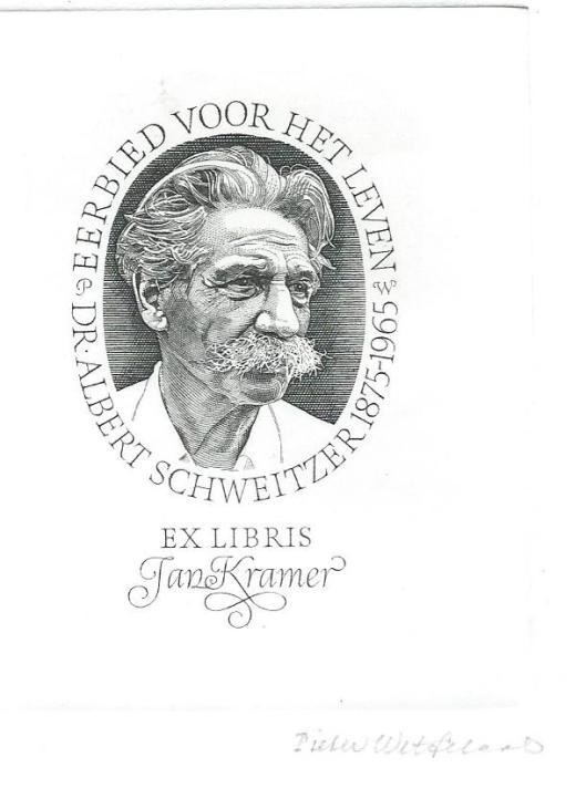 Geëtst portret van Albert Schweitzer, vervaardigd door Wetselaar als exlibris voor Jan Kramer