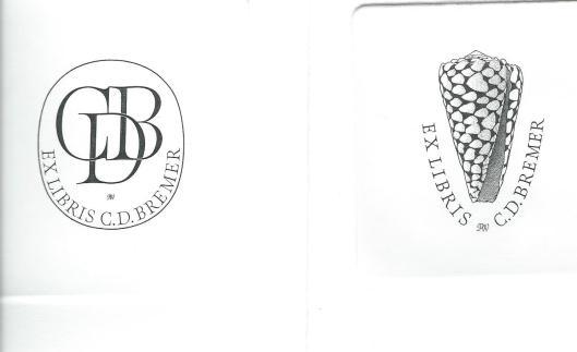 C.D. (Kees) Bremer uit Den Helder was een groot bewonderaar van het grafisch werk van Pieter Wetselaar en liet in 1993 enkele kopergravures door hem maken. In 2002 voerde ik een correspondentie met Bremer. Links een exlibris met de letters CDB en rechts een schelp van de soort 'Conus Marmoreus', waarvan ook Rembrandt een ets heeft gemaakt.