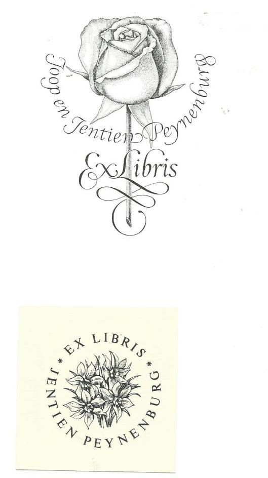 Twee exlibris van Wetselaar voor Joop en Hentien Peynenburg