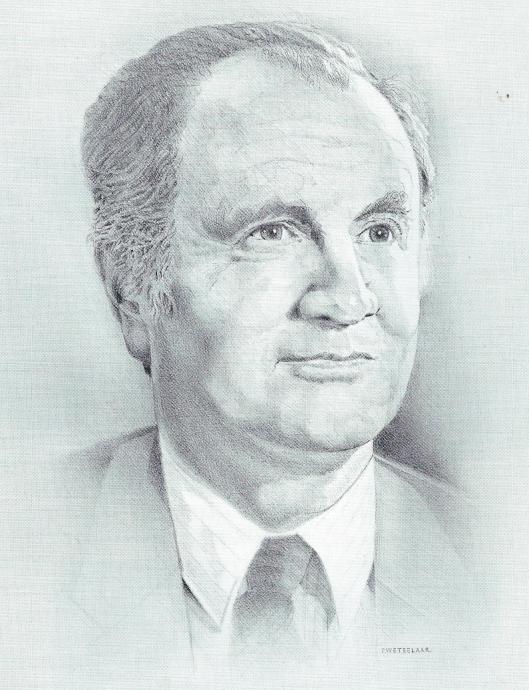 Portretttekening van Cees van Dijk, voormalig directeur van de Stadsbibliotheek Haarlem en drukker-uitgever van de bibliofiele Carlina pers