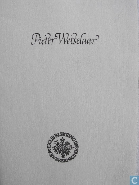 Vooromslag van mapje 'Pieter Wetselaat'uitgave, van de Exlibriskring van de W.B.-Vereniging ter gelegenheid van het XIX internationale Exlibris-congres te Oxford in 1982