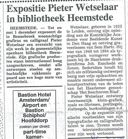 Bericht over expositie Pieter Wetselaar in bibliotheek Heemstede (Heemsteedse Courant, 20 november 1991)