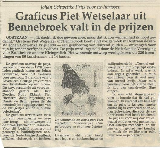 Pieter Wetselaar als winnar van de Johan Schwencke Prijs voor ex-librissen (Haarlems Dagblad van 26 juni 1990)
