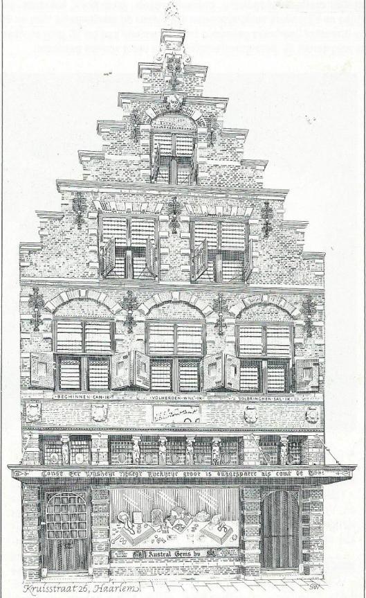 Tekening en ets door Pieter Wetselaarvan het historische winkelpand Kruisstraat 26 in Haarlem