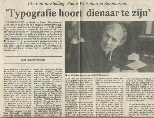 Artikel van Hans Rombouts in het Haarlems Dagblad van 7 oktober 1986 naar aanleiding van ere-tentoonstelling Pieter Wetselaar in Bennebroek