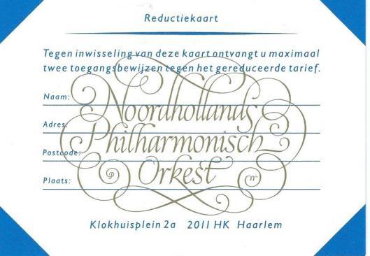 Gekalligrafeerd vignet van Pieter Wetselaar vervaardigd voor het Noordhollands Philharmonisch Orkest