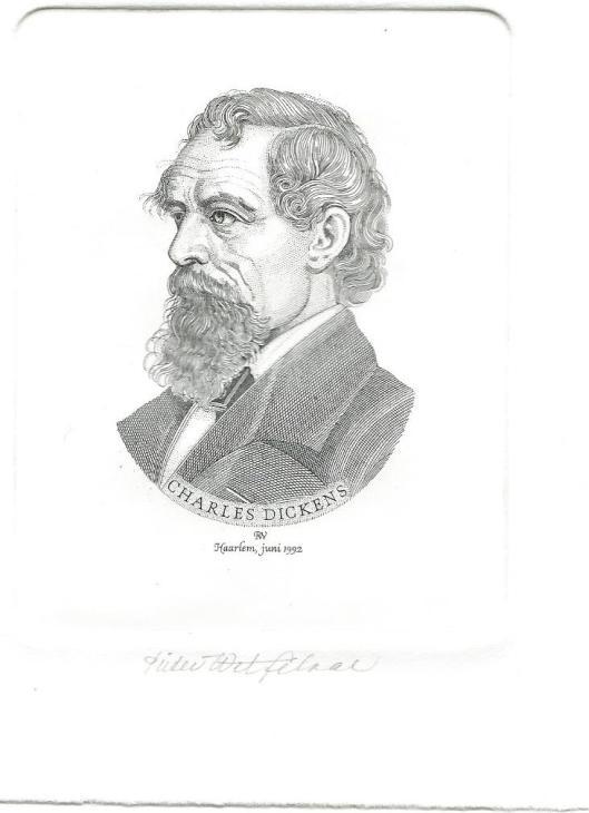 Geëtste portrettekening Charles Dickens door Pieter Wetselaar