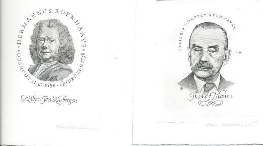 Links: portret Herman Boerhaave als exlibris voor Jan Rhebergen en rechts geëtst portret van Thomas Mann voor Norbert Neuchwatal, door Pieter Wetselaar