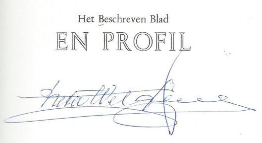 Uitsnede en handtekening uit boek: Het Beschreven Blad en profil, 1995