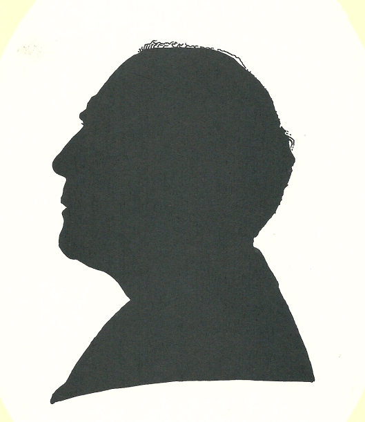 Pieter Wetselaar en profil in silhouet en door hemzelf getekend