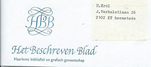 Ontworpen briefpapier voor bibliofiel en grafisch genootschap Het Beschreven Blad