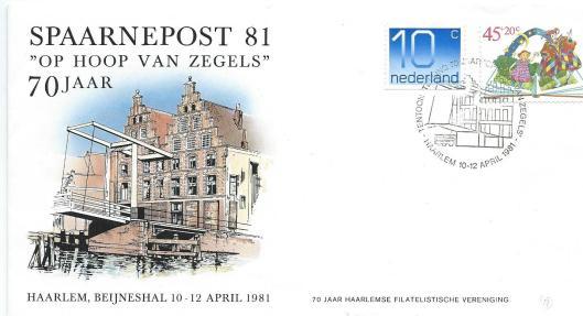 Ontwerp door Wetselaar van speciale enveloppe in verband met 70 jaar Haarlemse Filatelistische Vereniging 'Op Hoog van Zegels', 1981