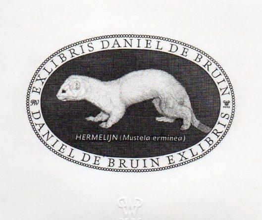 Exlibris met hermelijn door Pieter Wetselaar
