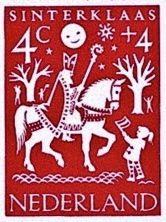 Sinterklaas-kinderpostzegel naar een ontwerp van Pieter Wetselaar