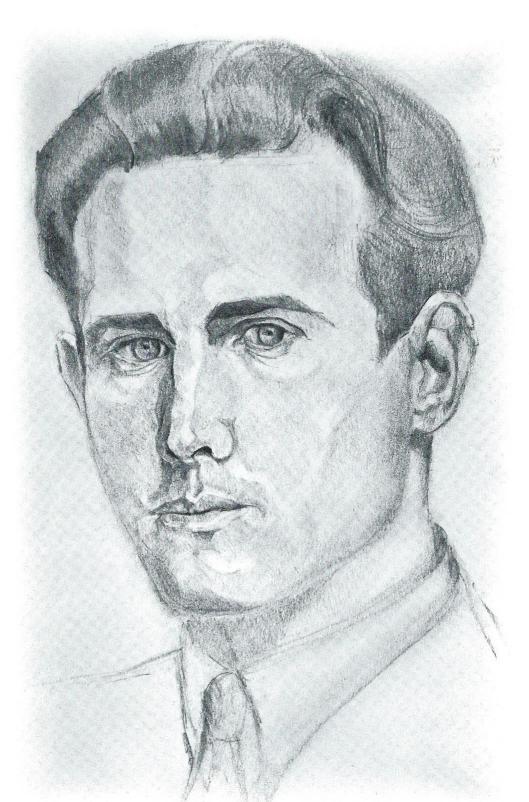 Houtskooltekening van zelfportret Pieter Wetselaar uit 1948 (uit boek: Werken van Pieter Wetselaar)