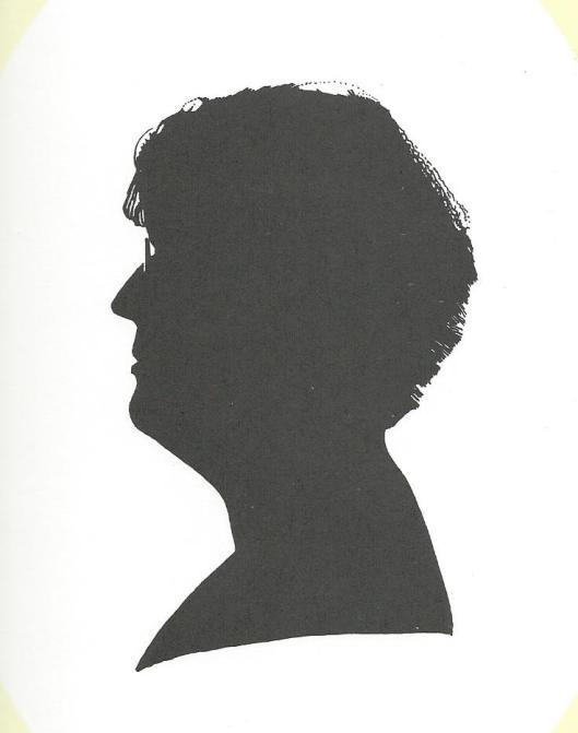 Silhouettekening door Wetselaar van dr. Joke Linders, schrijfster, biografe en recensente van jeugdliteratuur, gepromoveerd op een dissertatie over Annie M.G.Schmidt
