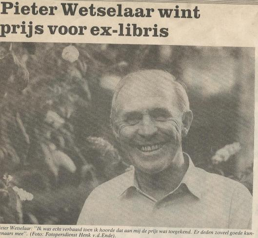 Foto Pieter Wetselaar bij artikel van Anneke Lommers in Het Weekblad, 1990 (foto Henk v.d.Ende)