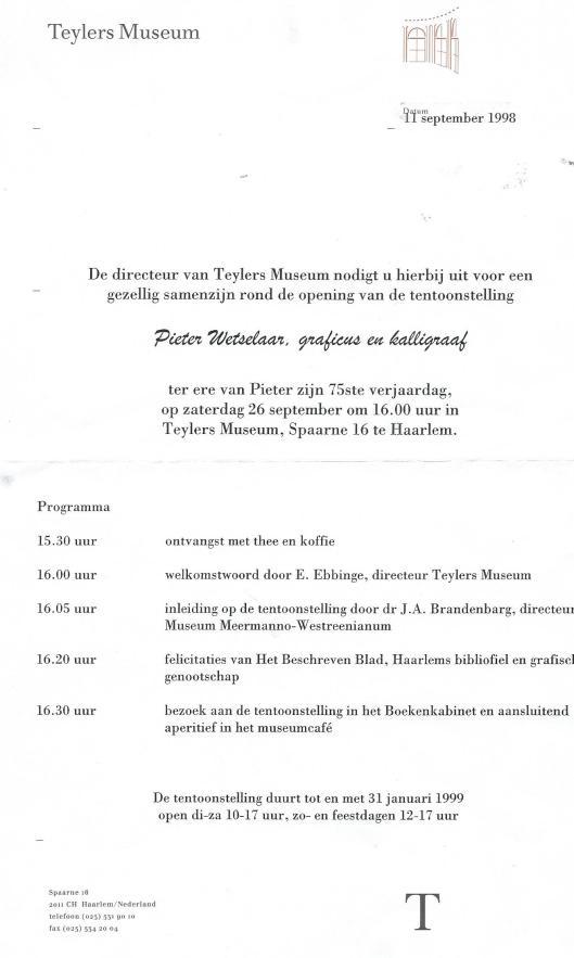 Uitnodiging opening tentoonstelling 'Pieter Wetselaar, graficus en kalligraaf' in Teylers Museum, 1998