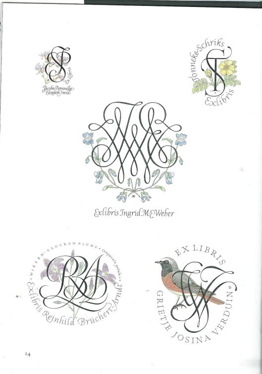 Diverse exlibris door Pieter Wetselaar vervaardigd voor 1) Johanna Petronella Schmid, 2) Jonneke Schriks, Ingrid M.E.Weber, Reinhild Brückert-Arndt en Grietje Josina Verduin (uit: Werk van Pieter Wetselaar, 1988