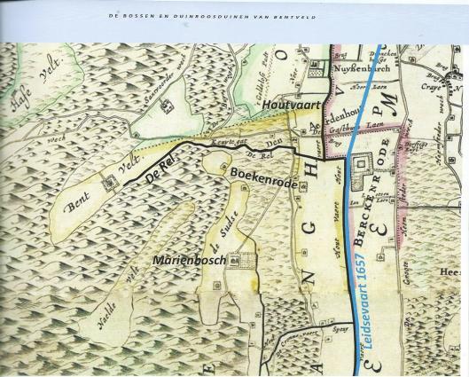 Sitering van Boekenrode op een kaart van landmeter Melchior Bolstra uit 1743 (Hoogheemraadschap van Rijnland)