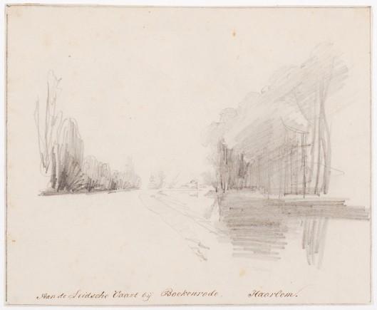 De Leidsevaart bij Boekenrode op een tekening van Pieter van Loon (1801-1873) uit 1850 (Universiteitsbibliotheek Leiden)