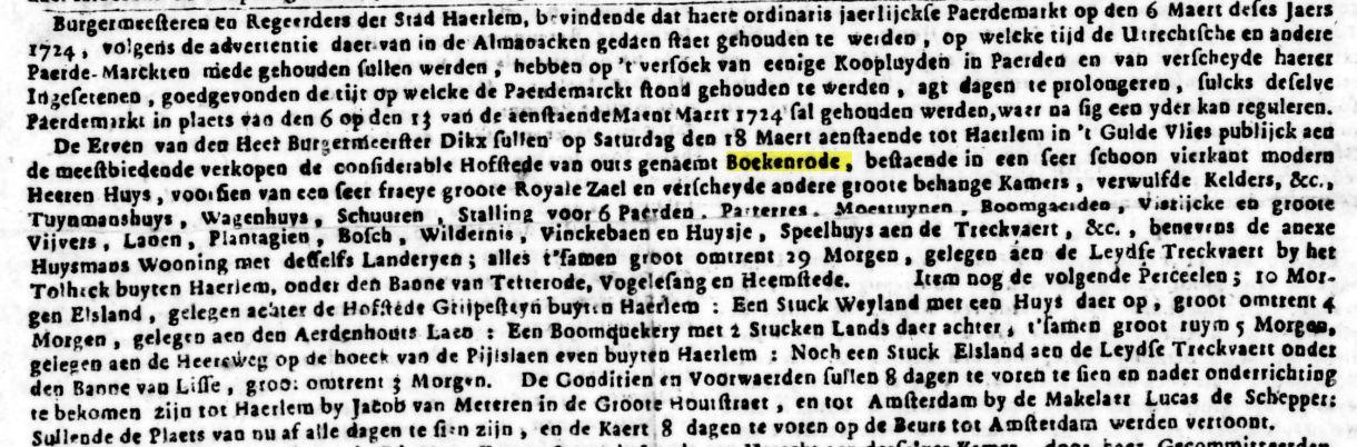 Bericht over verkoop Boekenrode uit Opr.Haerlemsche Courant van 1722