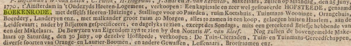 Annonce van verkoop Boekenrode uit de krant in 1770