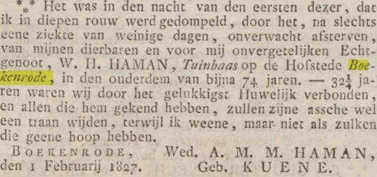 In 1827 overleed tuinbaas Haman van Boekenrode op 74-jarige leeftijd