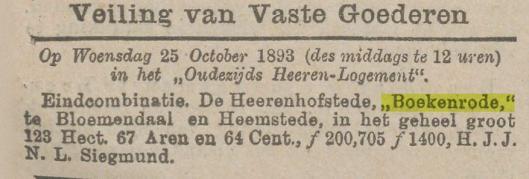 Aankondiging van veiling Boekenrode in de kranten van 1893
