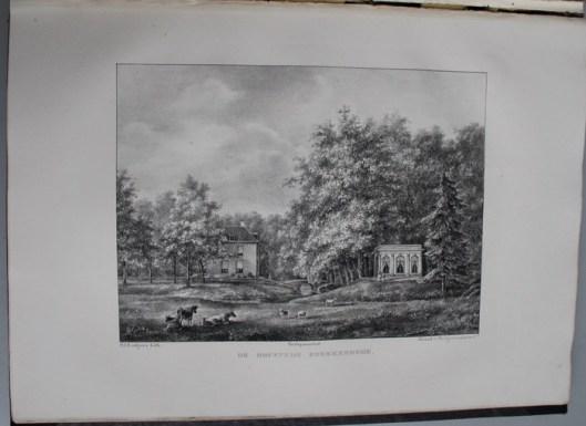 Omstreeks 1840 vervaardigde P.J.Lutgers een litho van Boekenrode. Links het herenhuis en rechts is het theehuis afgebeeld