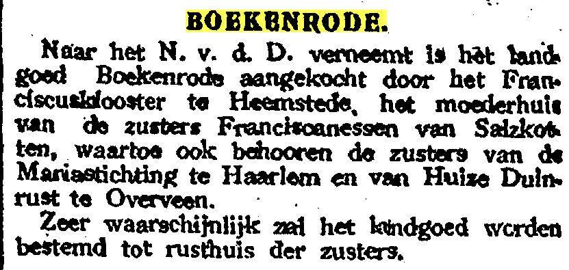 Bericht over voorgenomen aankoop Boekenrode uit Haarlem's Dagblad van 20-2-1922