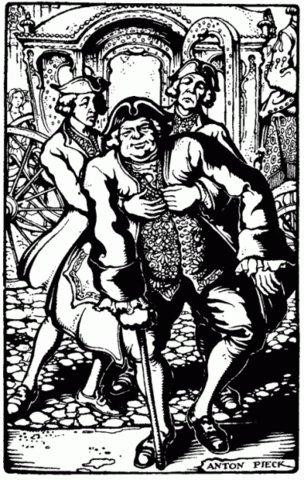 Gillis van den Bempden ondersteund door 2 bodes. Illustratie van Anton Pieck in boek Ray