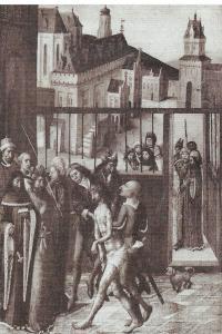 Bijbelvoorstelling met Christus voor Pontius Pilatus op een laatmiddeleeuws ongesigneerd paneel. Boven links imoet het stadhuis van Haarlem verbeelden en daarnaast het poortgebouw op de Grote Markt, het huis van de familie van Berckenrode (Rotterdam, Museum Boijmans)
