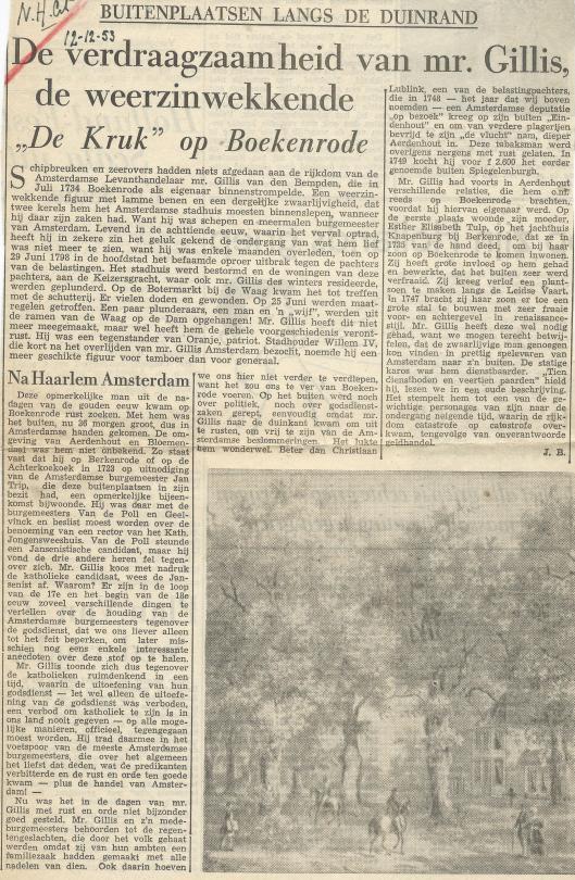 Artikel over mr.Gillis van den Bempden; door Jan Bomans, uit N.Hrl. Crt. van 12-12-1953