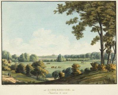 Ingekleurde ets van H.Numan, vanuit Boekenrode richting Haarlem, 1794