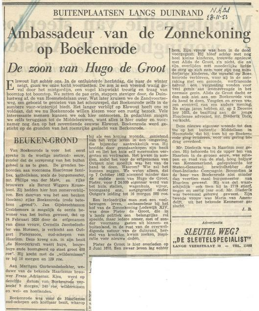 Artikel over Pieter de Groot, zoon van Hugo de Groot; door Jan Bomans, in: Nieuwe Haarlemsche Courant van 28-11-1953